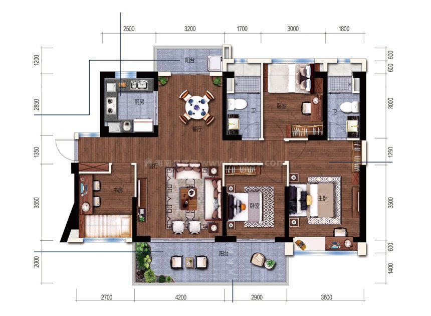 维港湾B户型 4室2厅 建面:134m²
