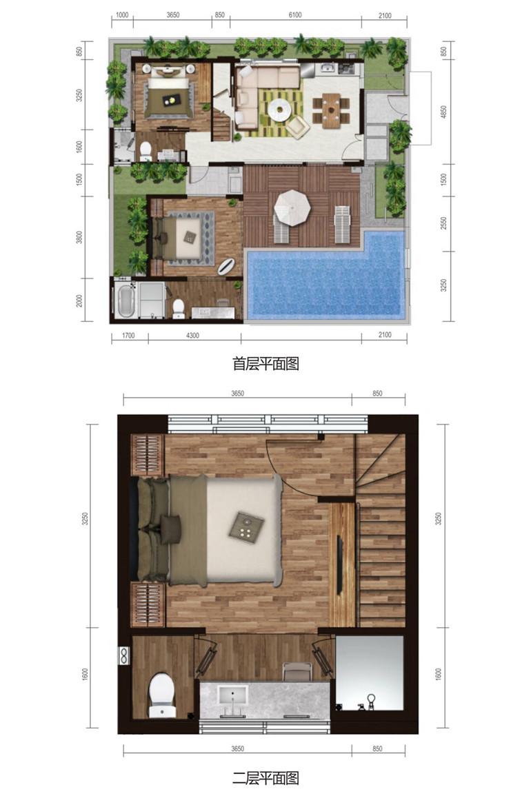 克拉墅A户型 3室2厅3卫 建面69.6㎡平面图