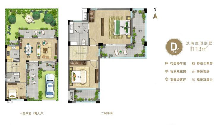 别墅D2户型 3室2厅2卫 建面113㎡
