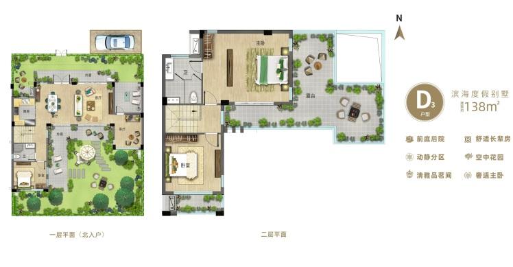别墅D3户型 4室2厅2卫 建面138㎡