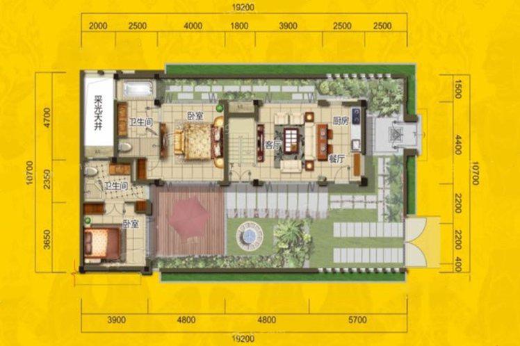 别墅A户型 2室3厅2卫 建面147㎡ 二层平面图