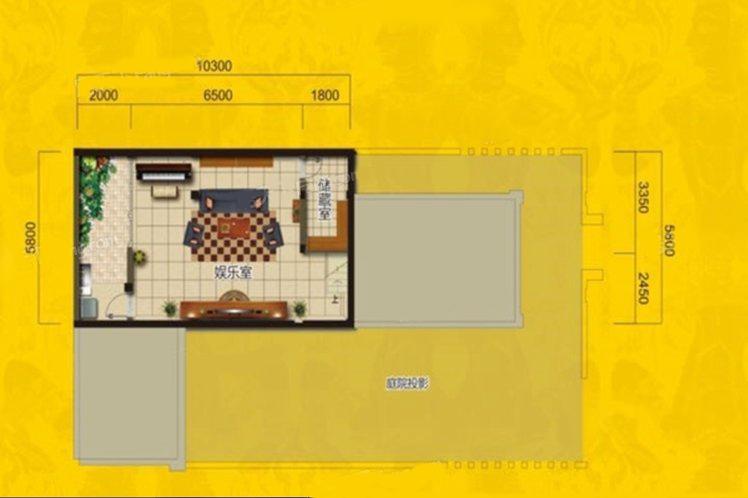 别墅A户型 2室3厅2卫 建面147㎡ 首层平面图