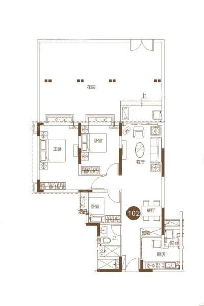 4#102户型 3室2厅1卫 建面85.57㎡