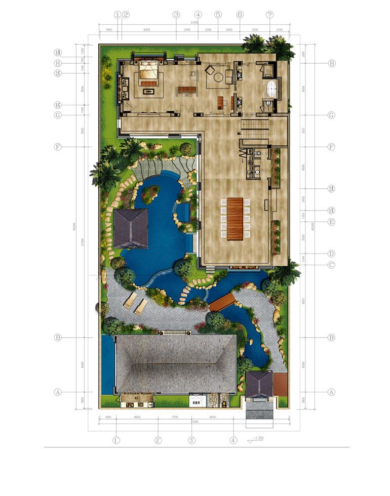 D3户型 5室2厅2卫 建面388㎡ 二层平面图