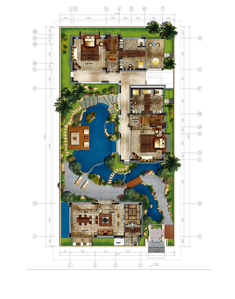 D3户型 5室2厅2卫 建面388㎡一层平面图