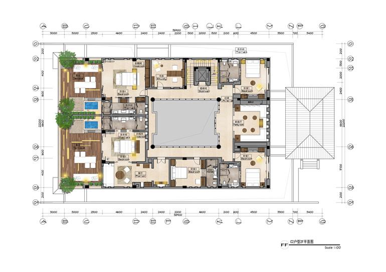 C2户型 建面806㎡ 二层平面图