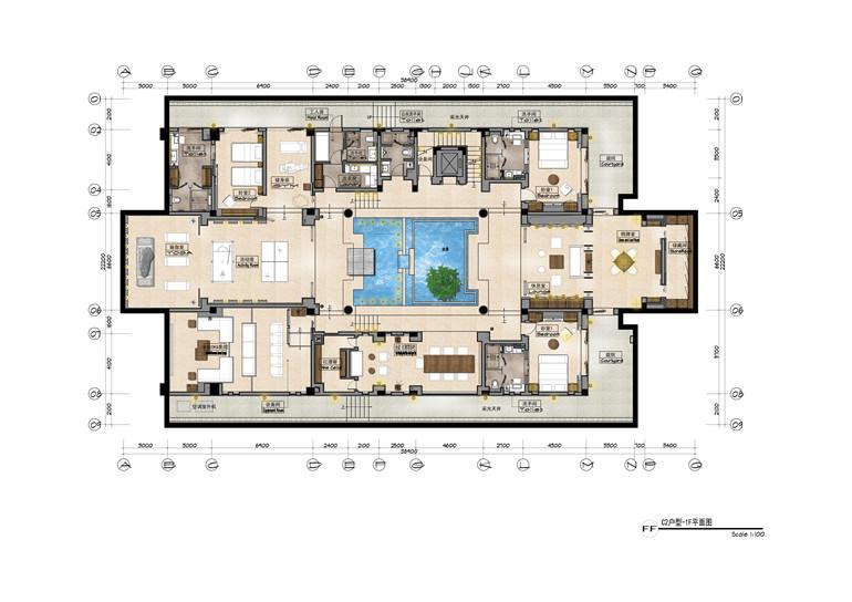 C2户型 建面806㎡ 负一层平面图