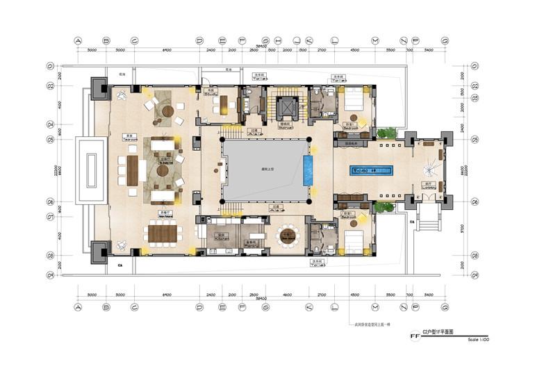 C2户型 建面806㎡ 一层平面图