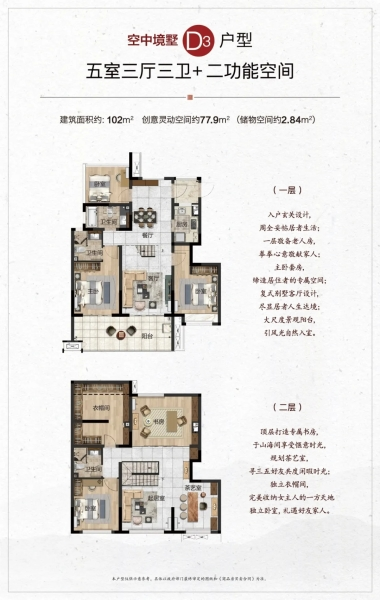 空中镜墅D3户型 5室3厅3卫 建面102㎡