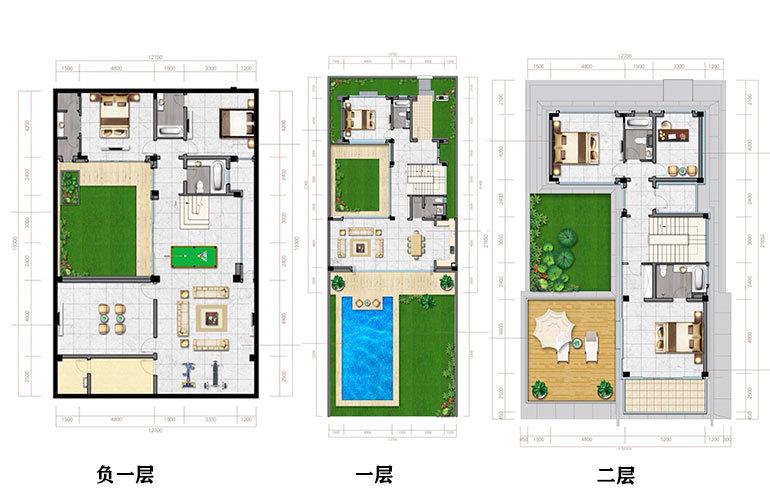 联排别墅 5室4厅5卫 建面177㎡