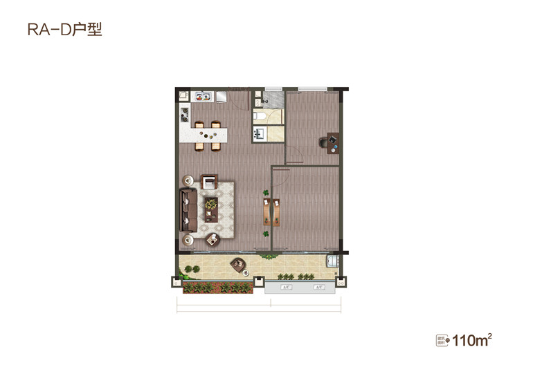 半岛新天地-RA栋-D户型 2室1厅1卫 建面110㎡