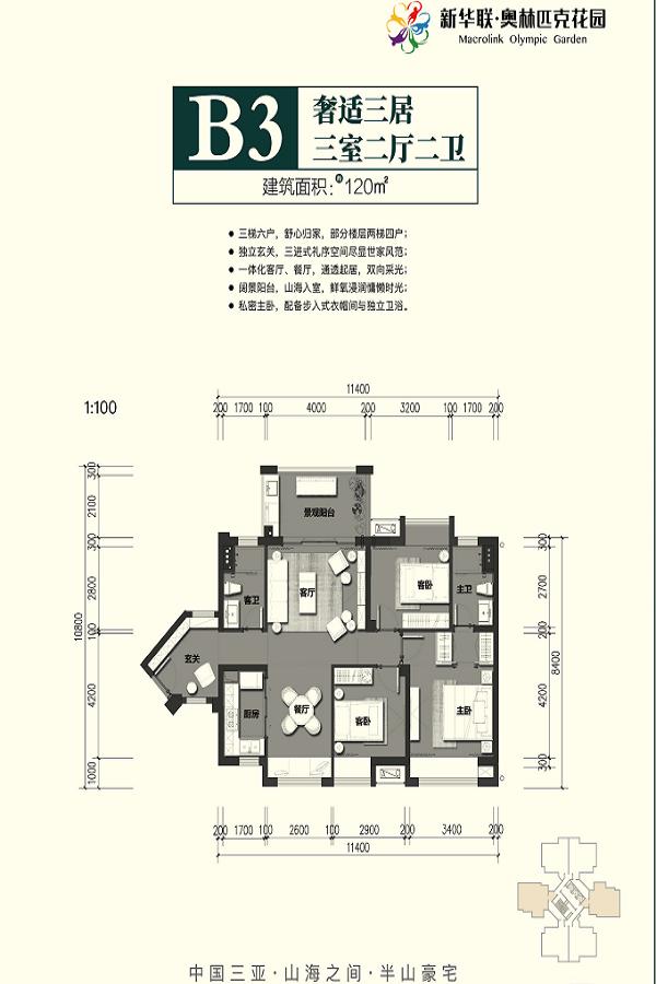 B3户型 3房2厅2卫 建面120㎡