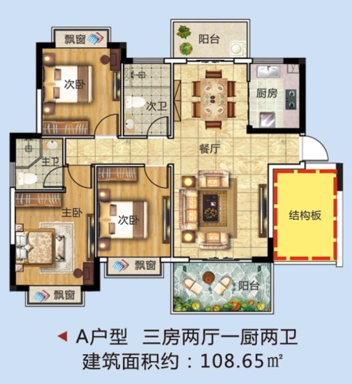 A户型 3房2厅1厨2卫 建面108.65㎡