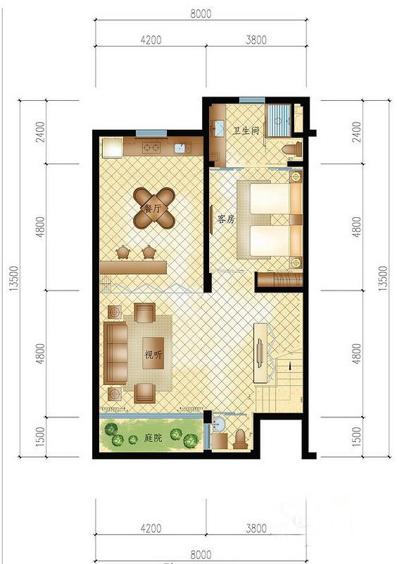 A户型 1室1厅1卫 建面115㎡3