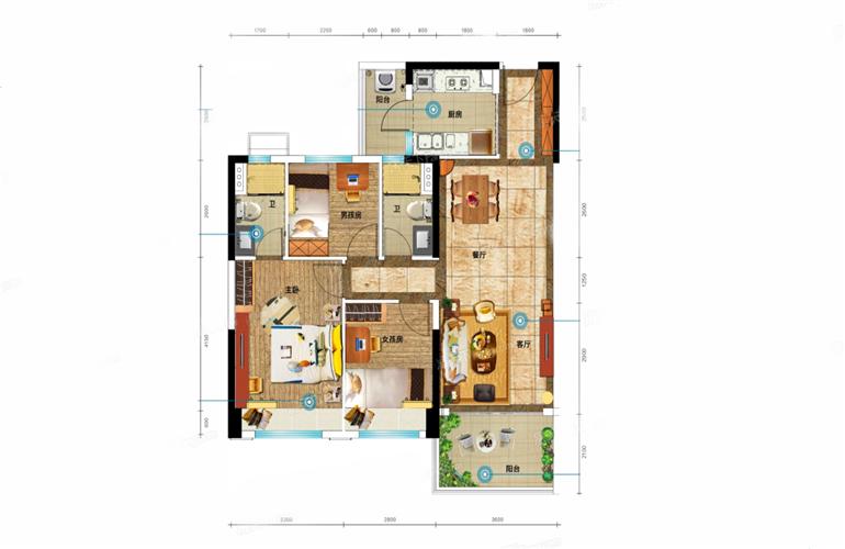 YJ100户型 3室2厅2卫1厨 建面105m²