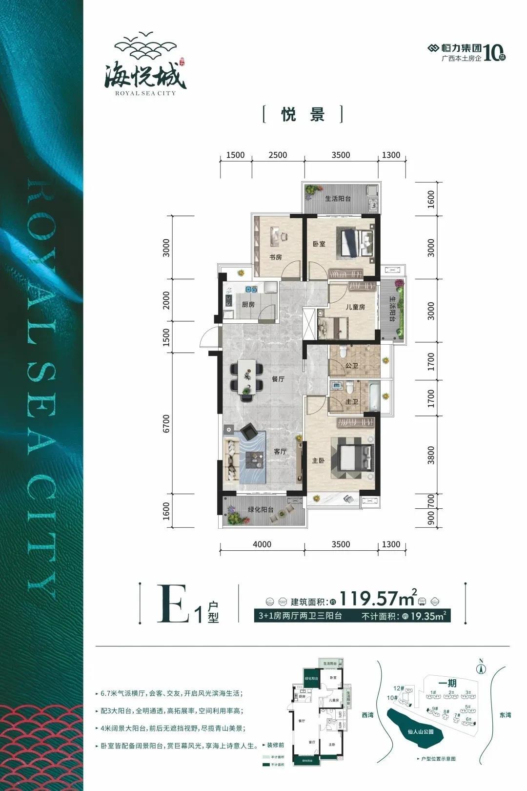 E1户型 3房2厅2卫 建面119.57㎡