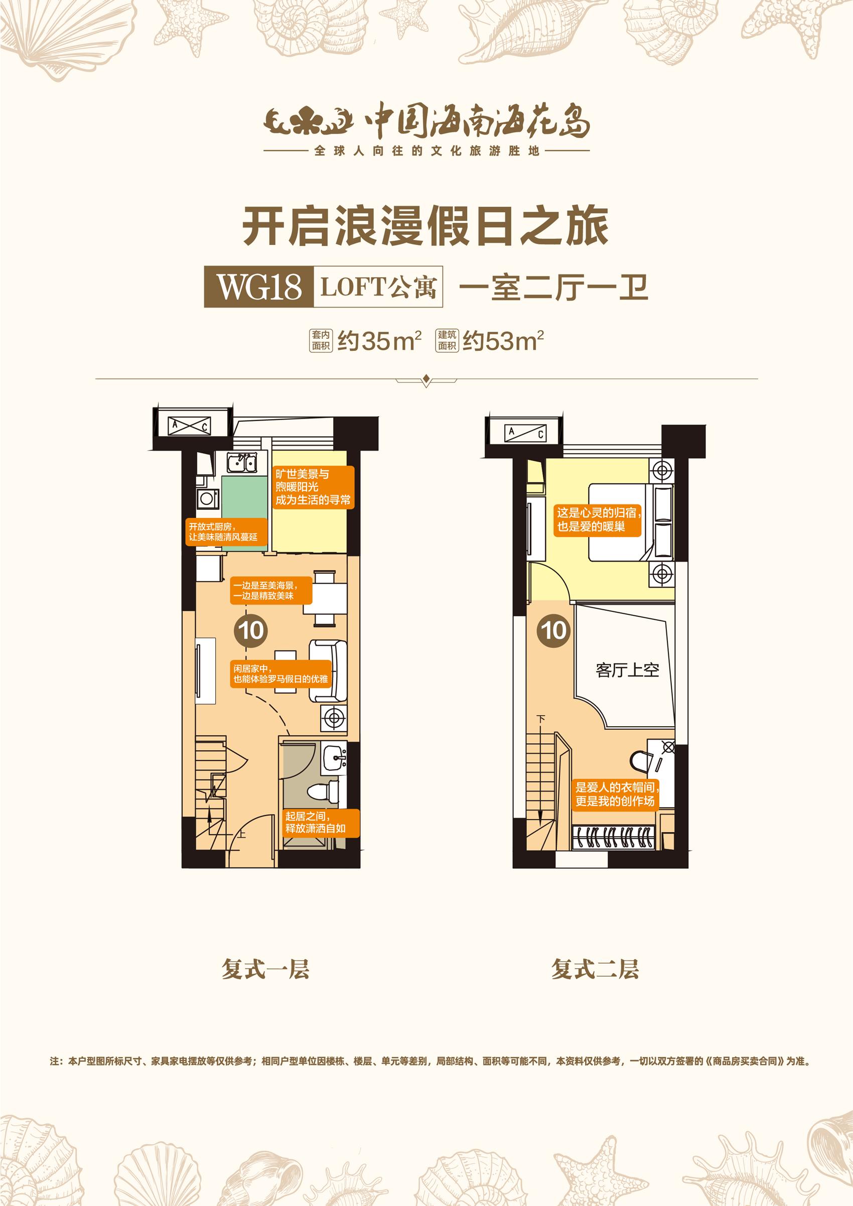 WG18LOFT公寓 1室2厅1卫 建面约35㎡、53㎡