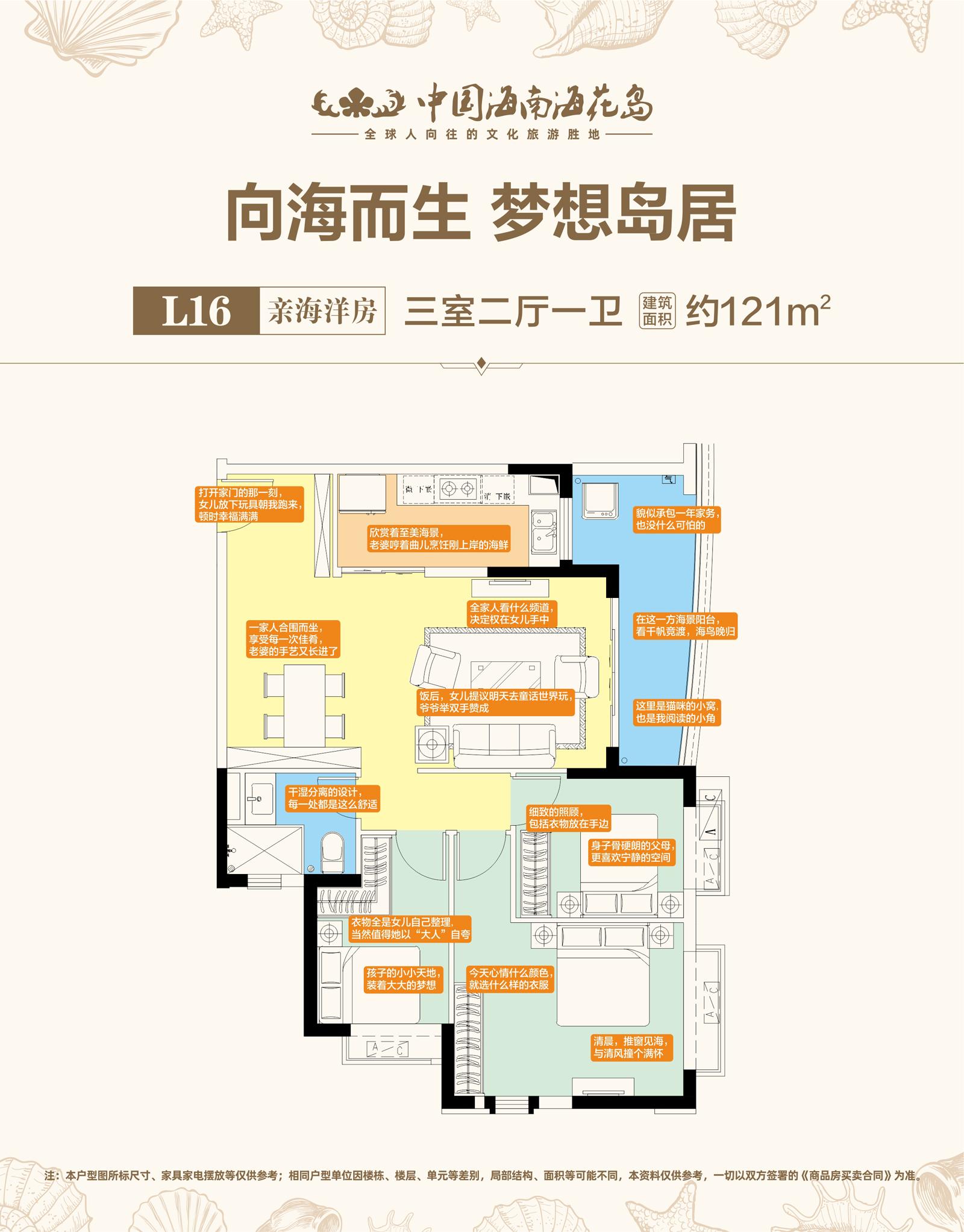 L16亲海洋房 3室2厅1卫 建面约121㎡