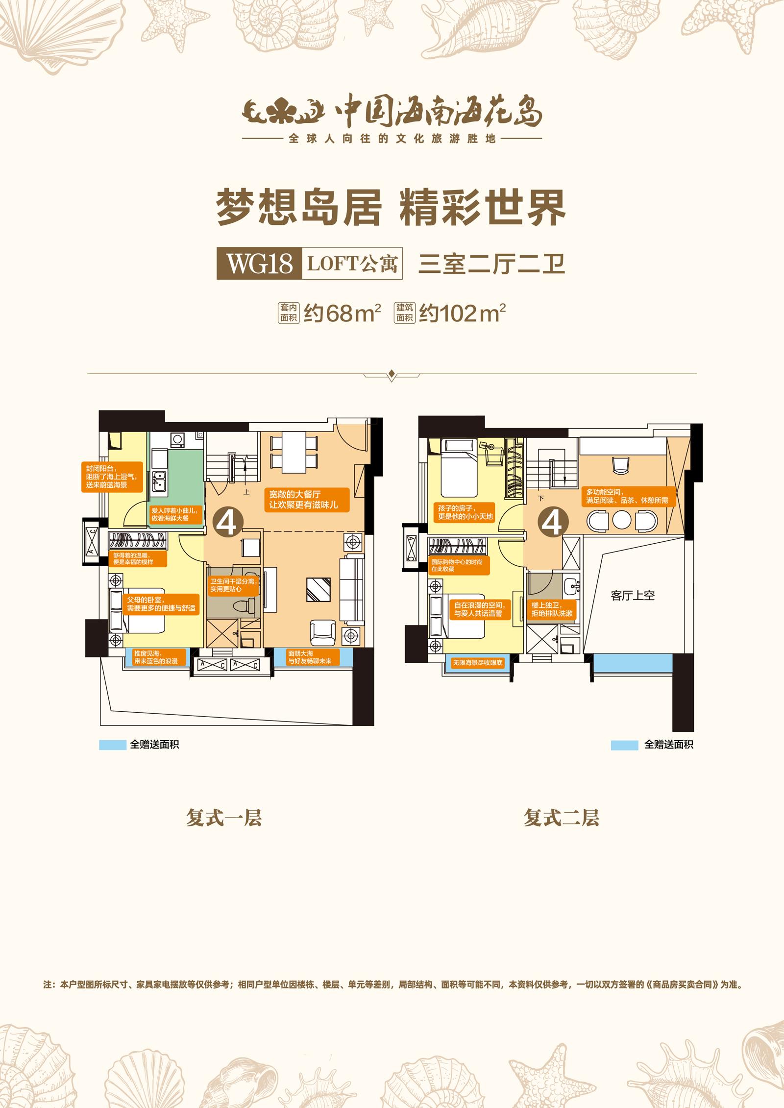 WG18LOFT公寓 3室2厅2卫 建面约68㎡、102㎡