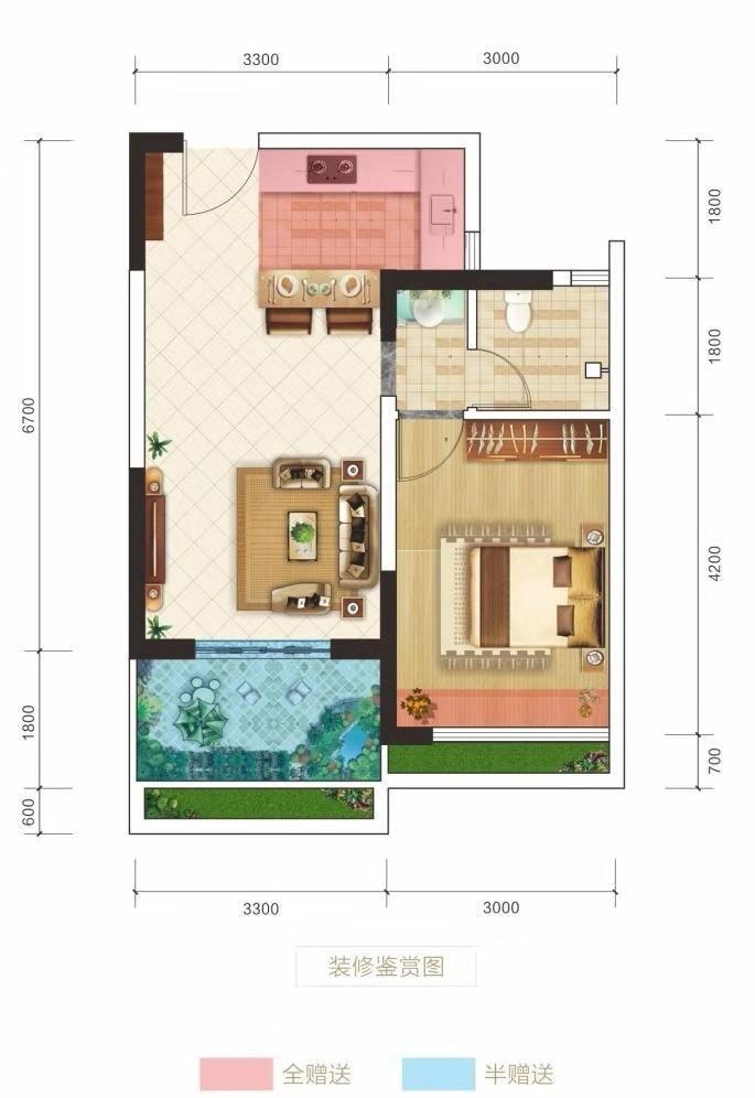 洋房2 1室1厅 建面54㎡