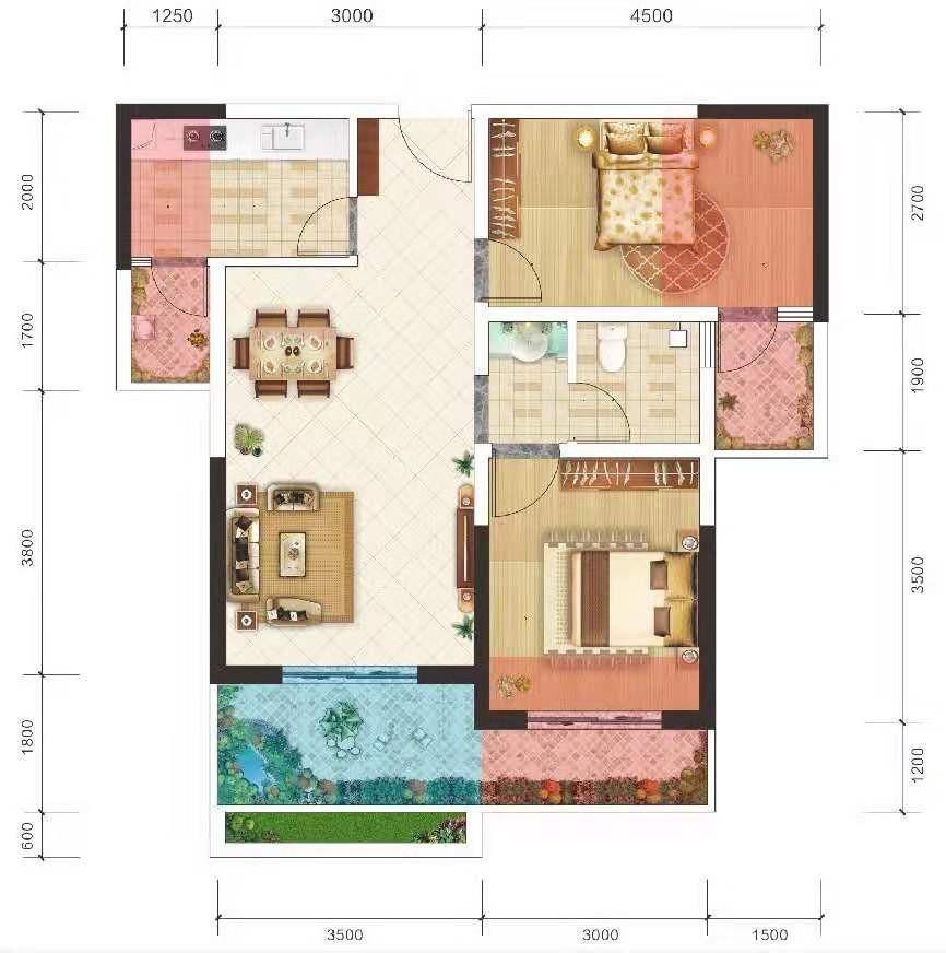 洋房 2室2厅 建面69㎡