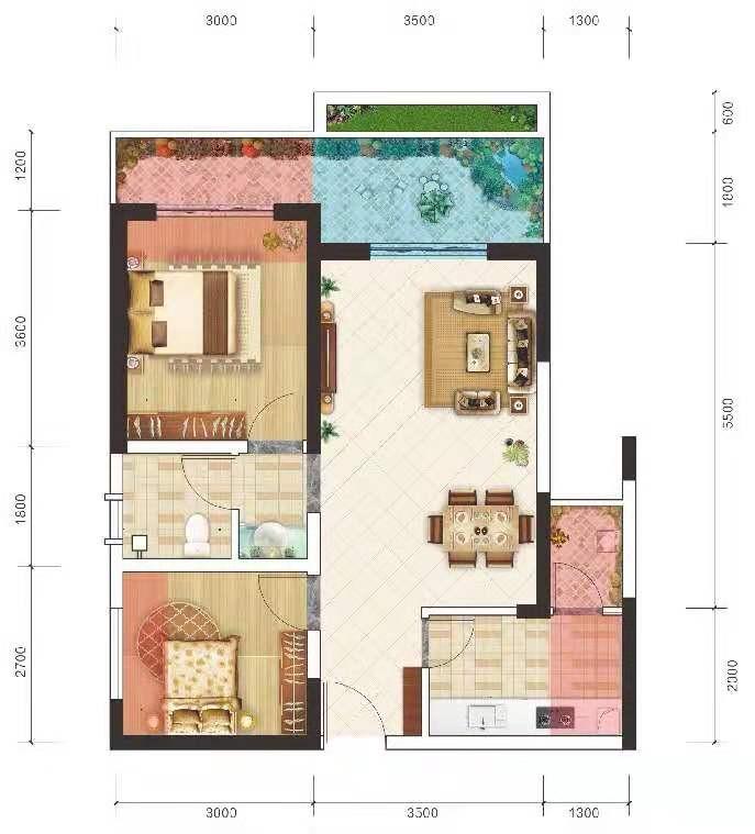 洋房3 2室2厅 建面69㎡