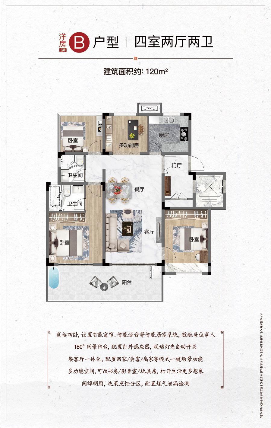 二期洋房B户型 4室2厅2卫 建面约120㎡