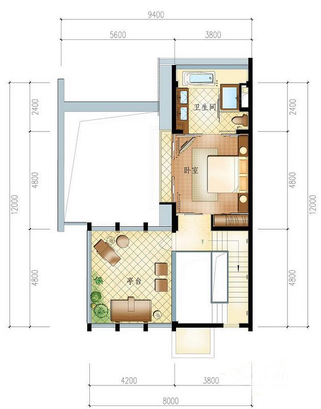 一期小院别墅圣陶沙A户型 1室1厅1卫 建面约115㎡