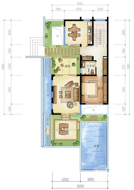 一期小院别墅圣陶沙B户型 1室0厅1卫 建面约135㎡
