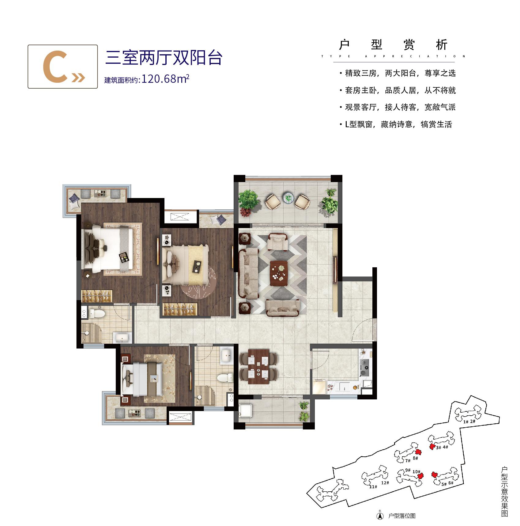 C户型 3室2厅2卫 建面约120.68㎡
