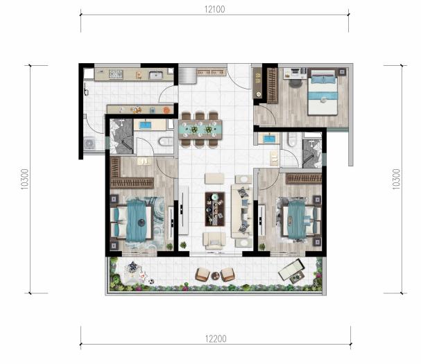 B户型 建面约127㎡ 三室两厅两卫