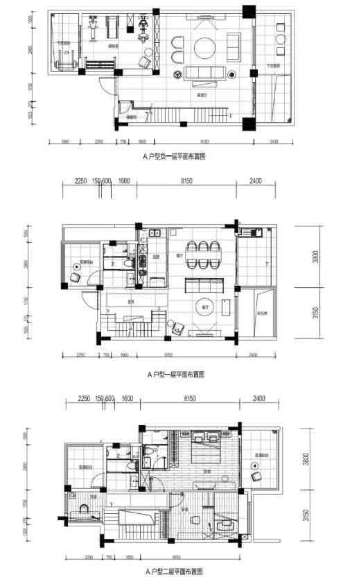 A户型 3室3厅3卫 建面:154㎡
