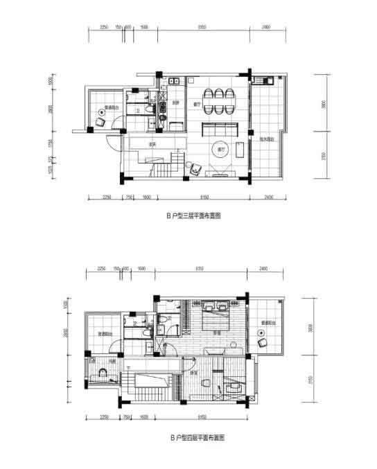 B户型 2室1厅2卫 建面:159㎡