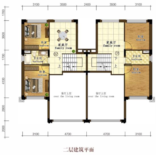 B2-6二层户型  4室3厅3卫  建面215㎡