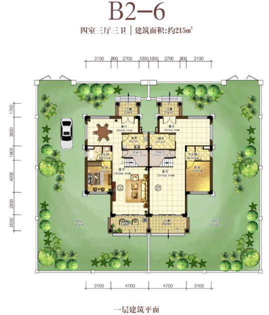 B2-6户型  4室3厅3卫  建面215㎡