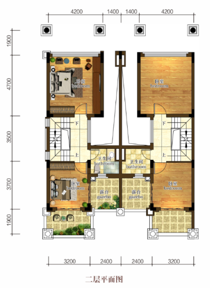 C4-5二层户型 4室2厅3卫  建面约175㎡