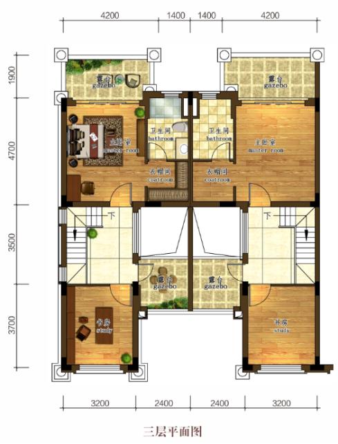 C4-5三层户型 4室2厅3卫  建面约175㎡