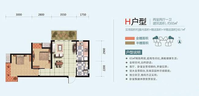 H户型 2室2厅1卫 建面:65㎡