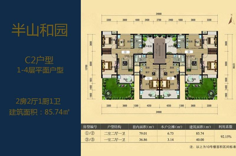 C2户型1-4层户型 2室2厅1厨1卫 建面:85.74㎡