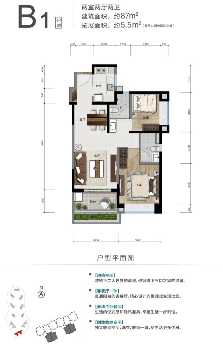 B1户型 两室两厅两卫 建面87㎡