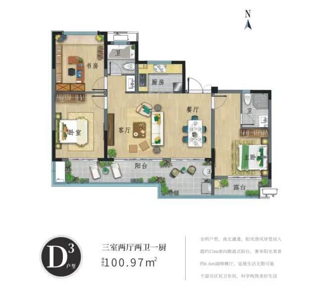 D3户型 3房2厅2卫1厨 建面100.97㎡