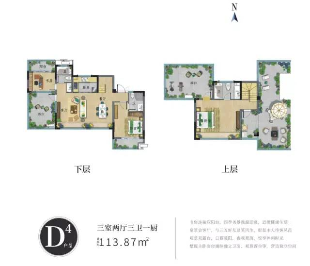 D4户型 3房2厅3卫1厨 建面113.87㎡