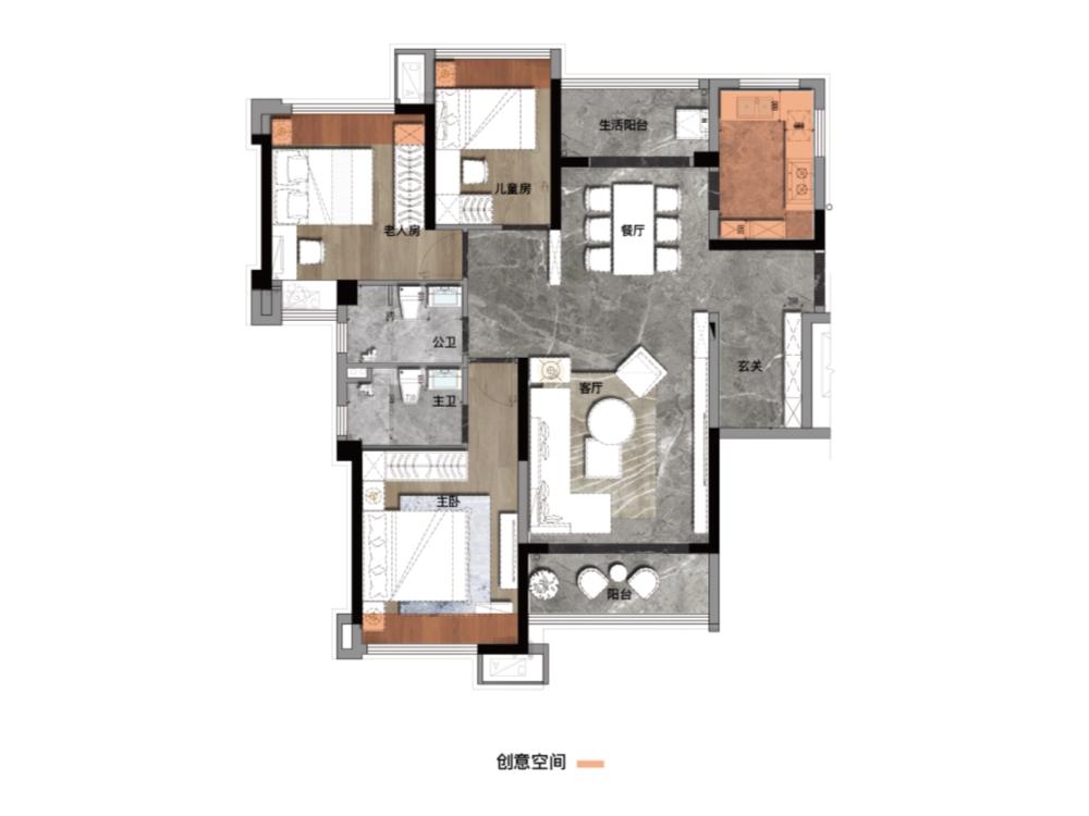 户型2-B1-107-3室2厅2卫-建面107.0㎡