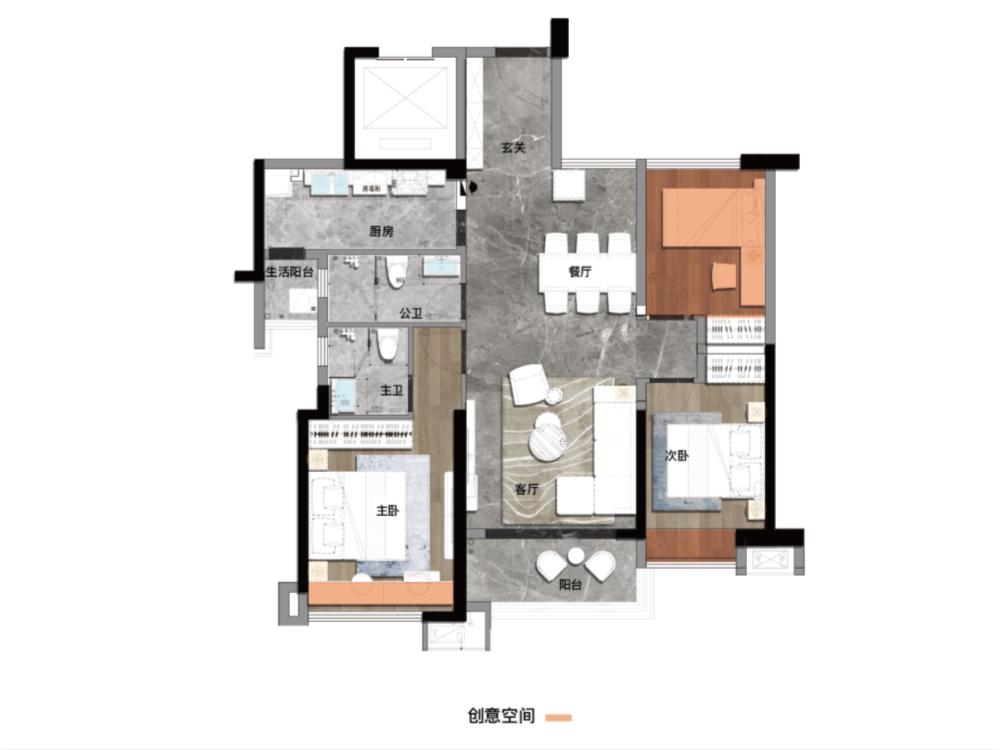 户型3-B2-94-2室2厅2卫-建面94.0㎡