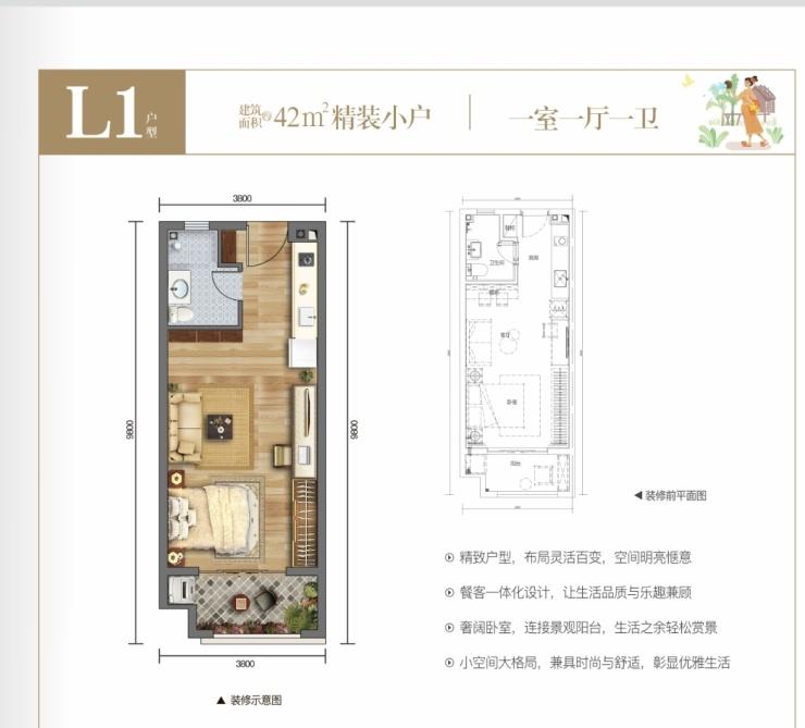 L1户型 1室1厅1卫 建面42㎡